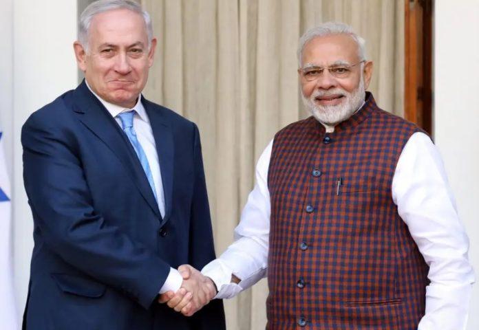 Benjamin Netanyahu wit PM Modi
