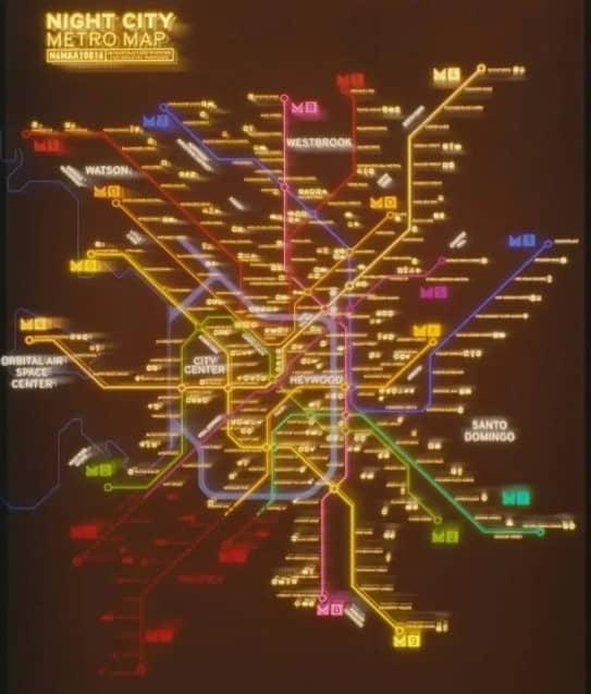 Night City Metro Map