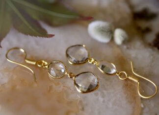 Crystal Earrings Gold Plated Brass