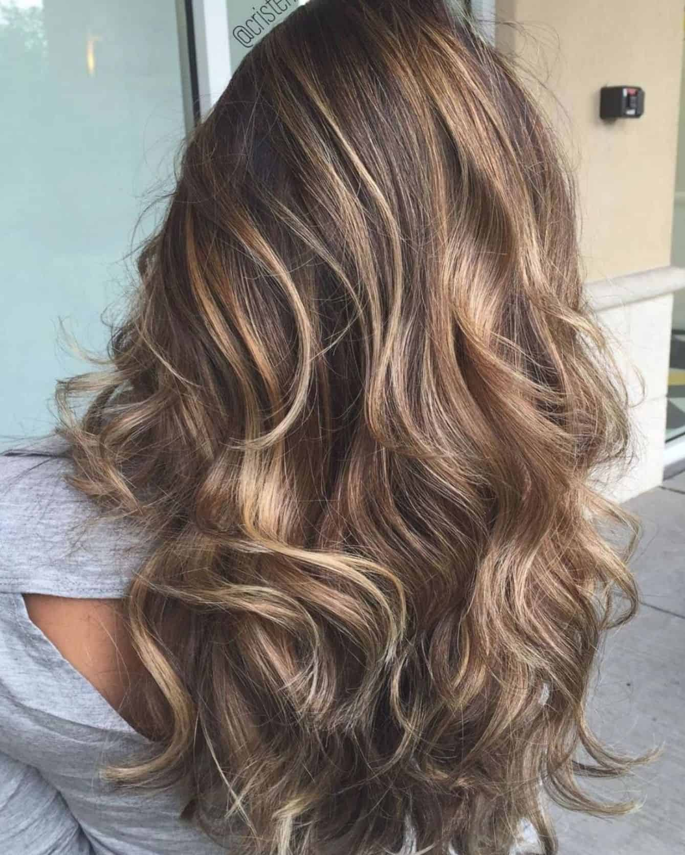 Long chocolate hair with subtle highlights